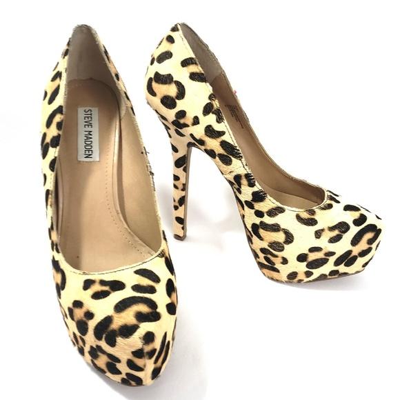 86cdbb00cd9 Steve Madden DEJAVU Real Fur Leopard Print Heels
